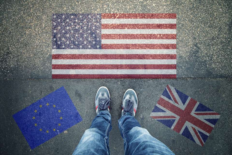 EU, US and UK Flags