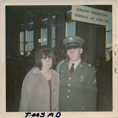"Barbara and Fred Kenney at the airport on the day he departed for Vietnam. Barbara sent Fred the picture in Vietnam, but he returned it with the note ""too sad"" written in the margin. It was the couple's last picture together. (© Barbara Hill)"