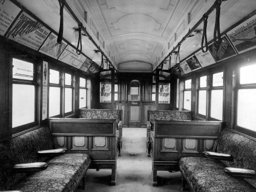 The American style interior of a First Class 1905 electric stock car