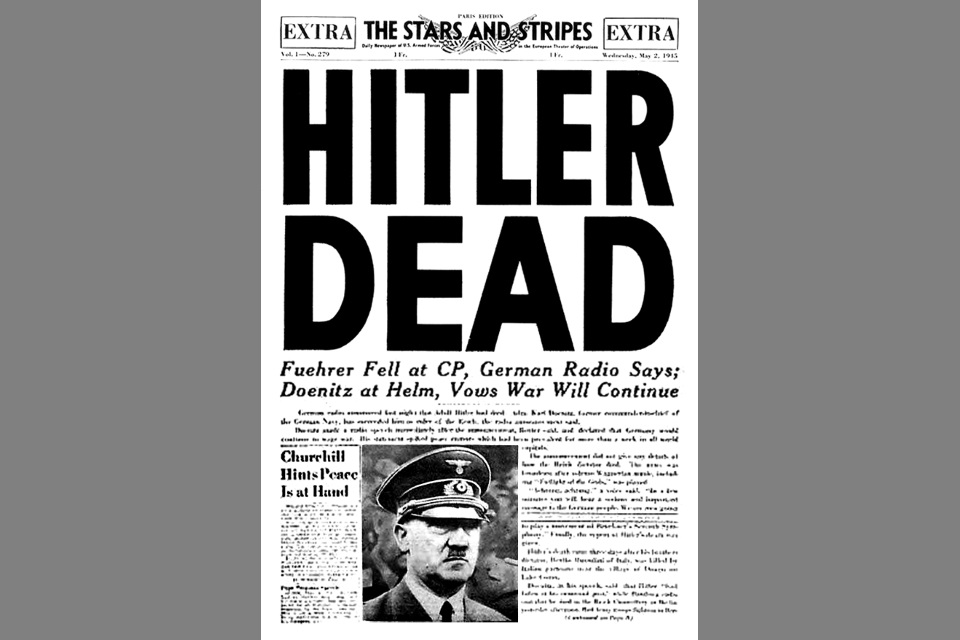 Hitler Dead – Stars and Stripes Cover from 1945