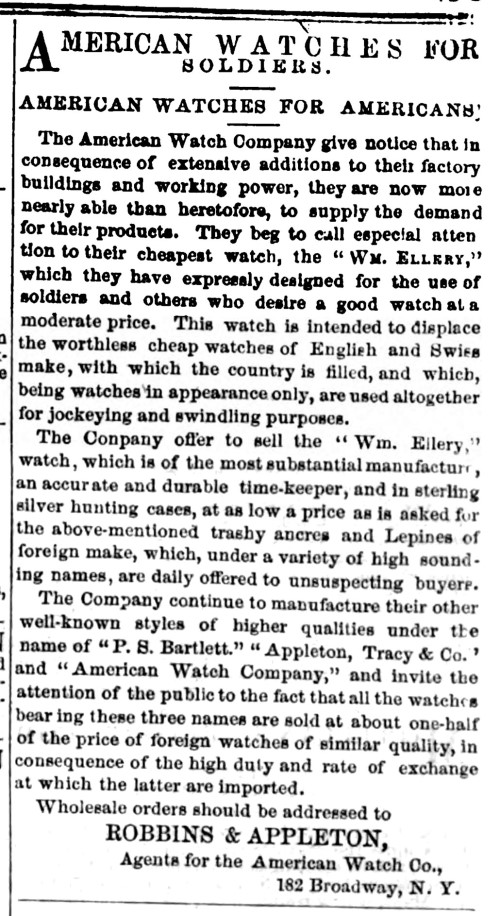 Waltham Watches for Soldiers