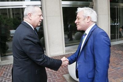 Speaker Bercow (right) shakes hands with John R. Allen