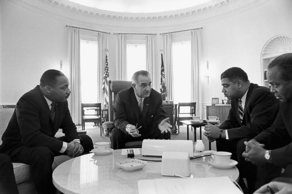 LBJ speaking with Civil Rights Leaders in the Oval Office