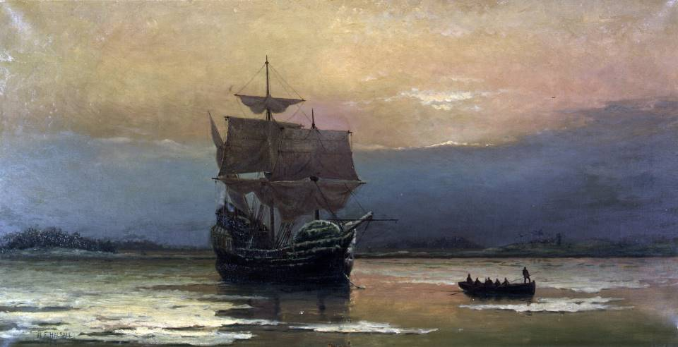 William Halsall, <i>The Mayflower in Plymouth Harbor</i>, 1882