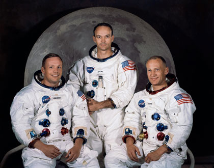 The crew of Apollo 11: Neil Armstrong, Michael Collins, Edwin 'Buzz' Aldrin. Photo courtesy NASA