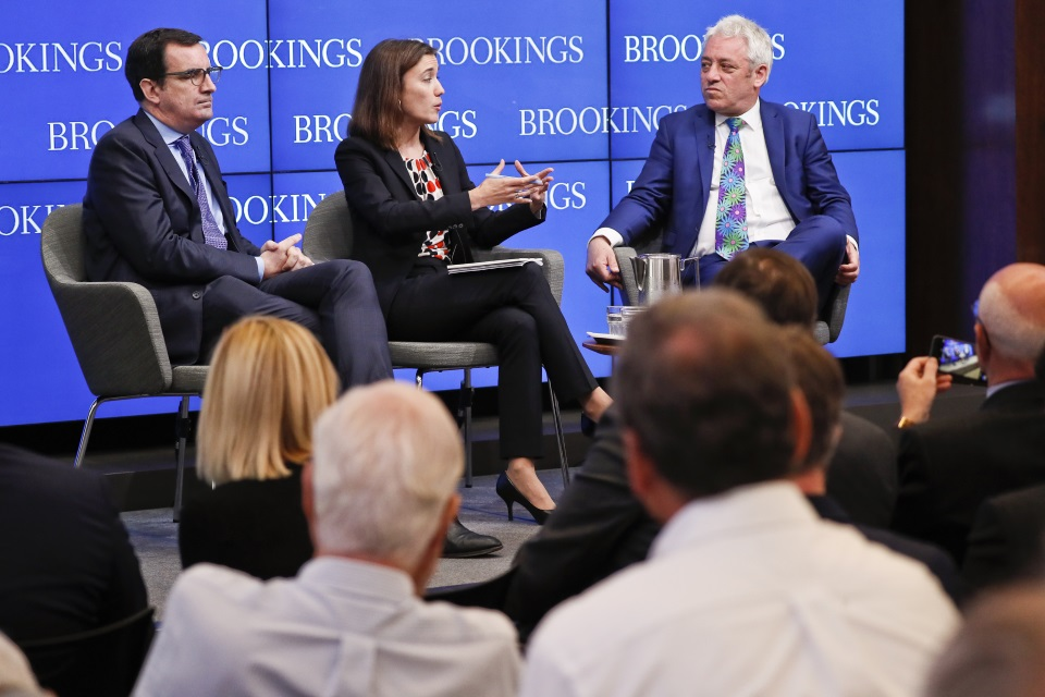 Thomas Wright (Director of the Center on the United States and Europe at the Brookings Institution, Amanda Sloat (Robert Borsch Senior Fellow in the Center on the United States and Europe in the Brookings Institution) and John Bercow (Speaker of the House of Commons