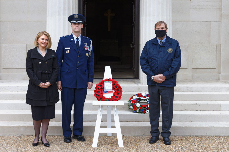 US Embassy Defense Attaché Brig. Gen. Jefferson J. O'Donnell (USAF) and his wife (left) attended a ceremony on November 8 at Brookwood American Cemetery.