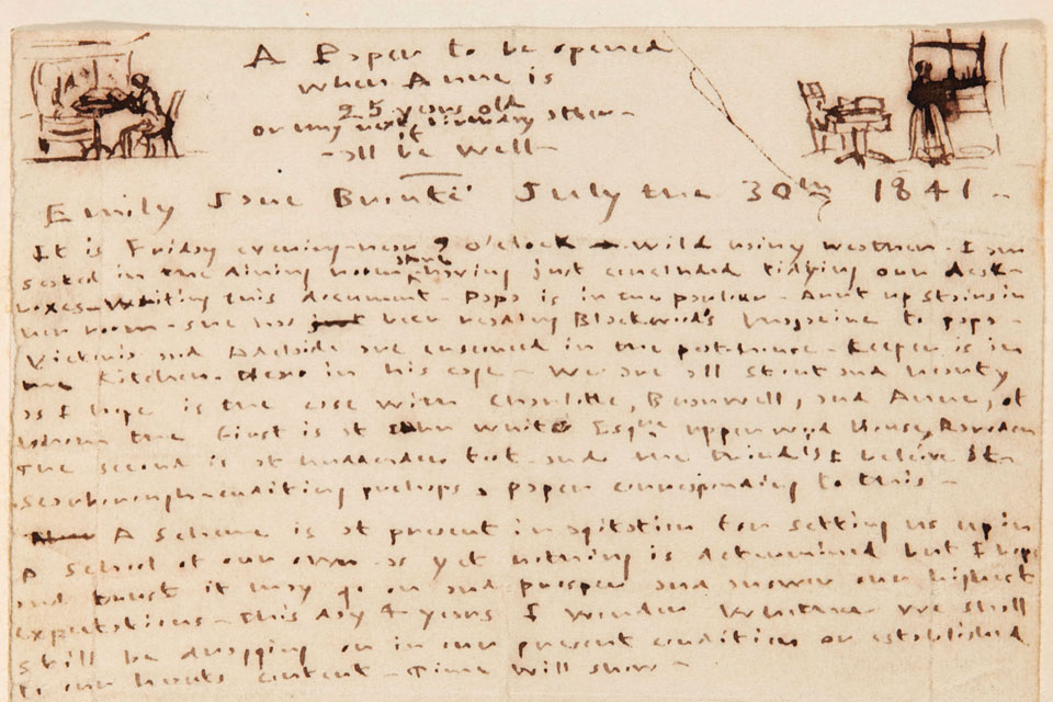 Birthday letter from Emily to Anne Bronte