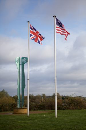 US and UK flag at Fairlop Waters Country Park