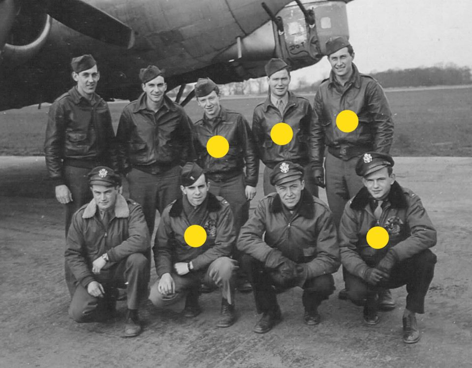 Lt. Jack Brandstatter  (front row on right) and his crew in 1945 Those with yellow dots were part of the crew who landed at Fairlop in 1944. Photo: 398 Bomb Group Memorial Association, USA