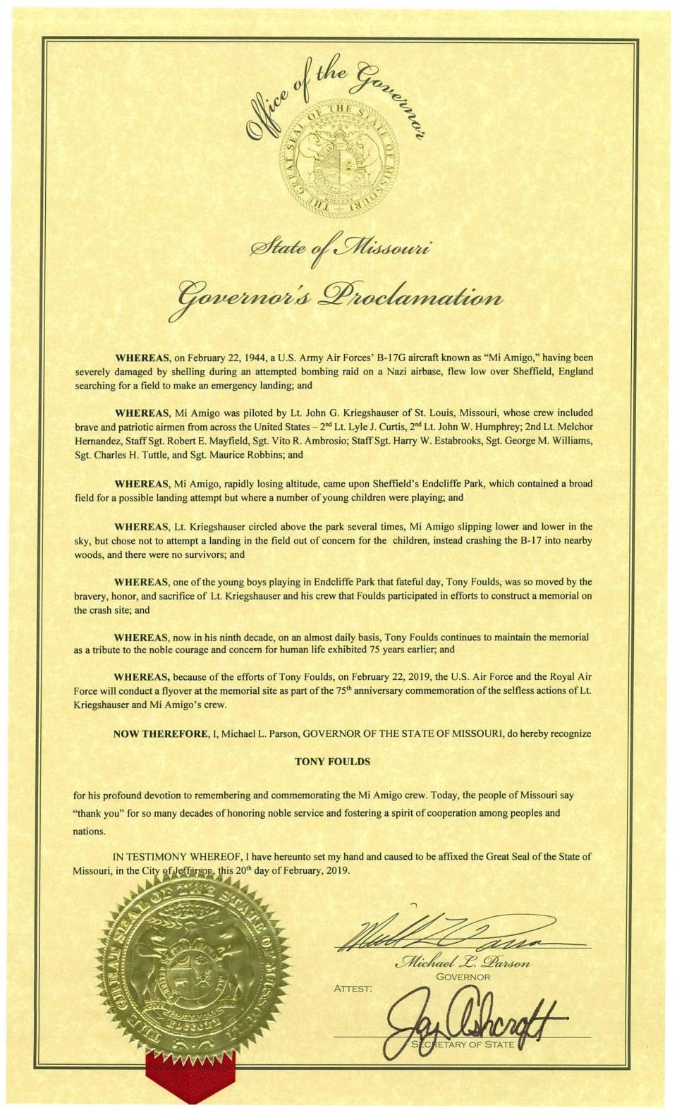 Tony Foulds Proclamation