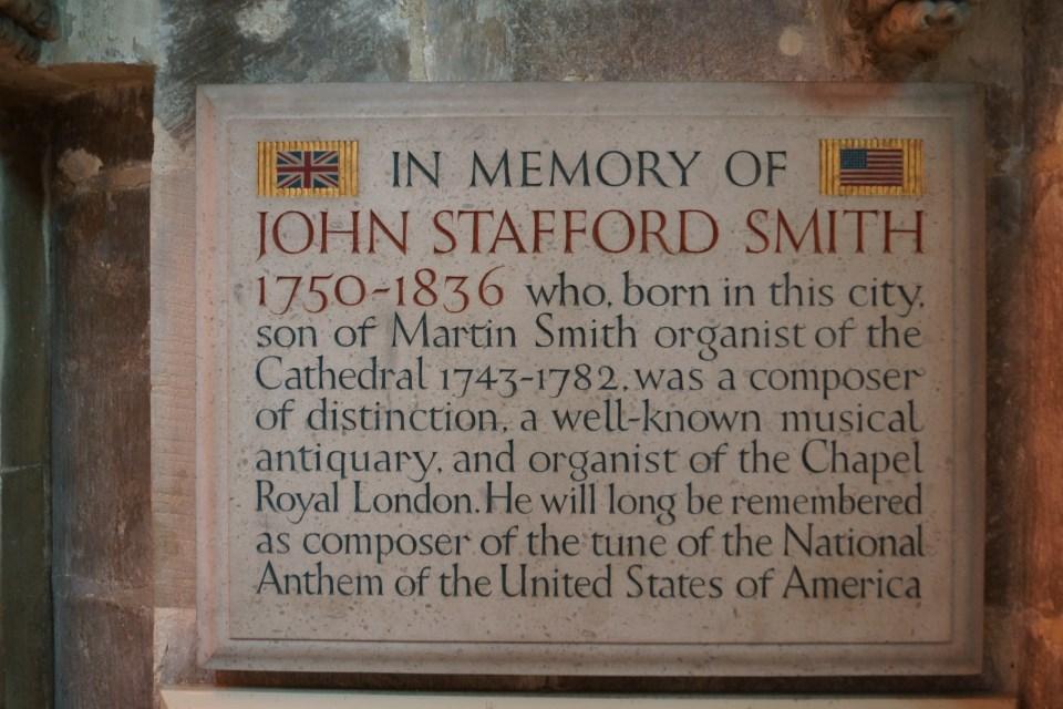 John Stafford Smith Inscription