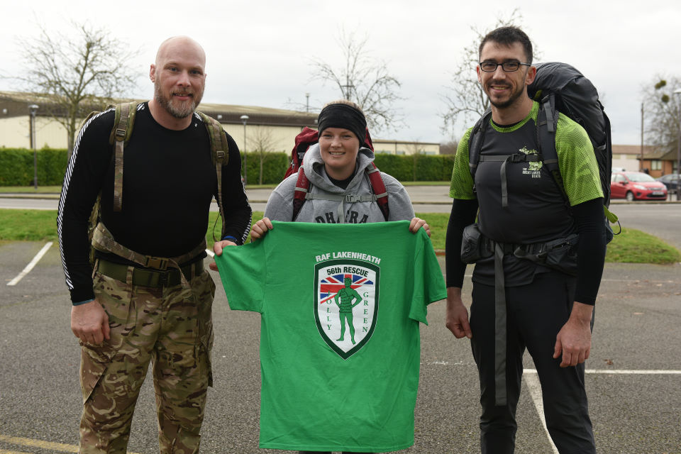 Three soldiers undertook the Rucking challenge