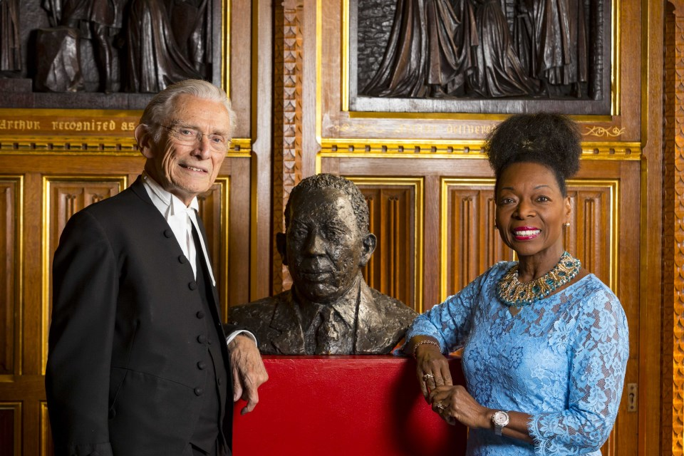 Lord Fowler and Baroness Benjamin with the Bust of Lord Learie Constantine