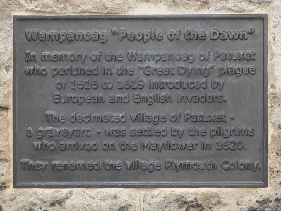 Plaque to the Wampanoag People