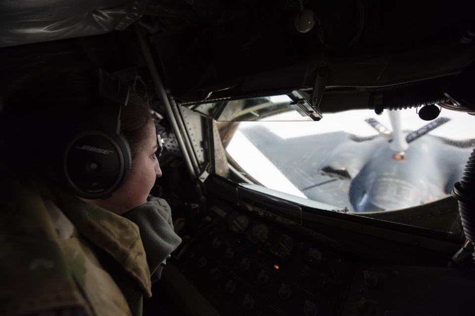 Staff Sgt. Kaylene LaRose refuels a B-2 Spirit over the North Sea