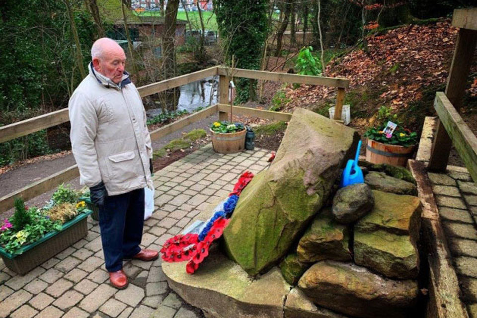 Tony Foulds at the B-17 crash memorial in Endcliffe Park. Photo: Dan Walker