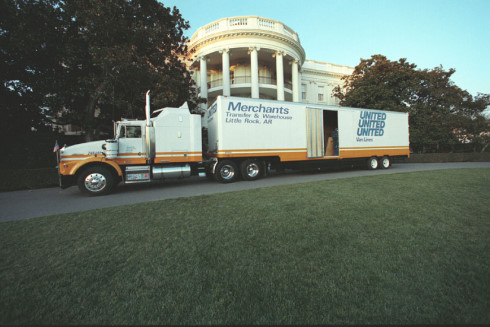 Moving Truck outside the White House