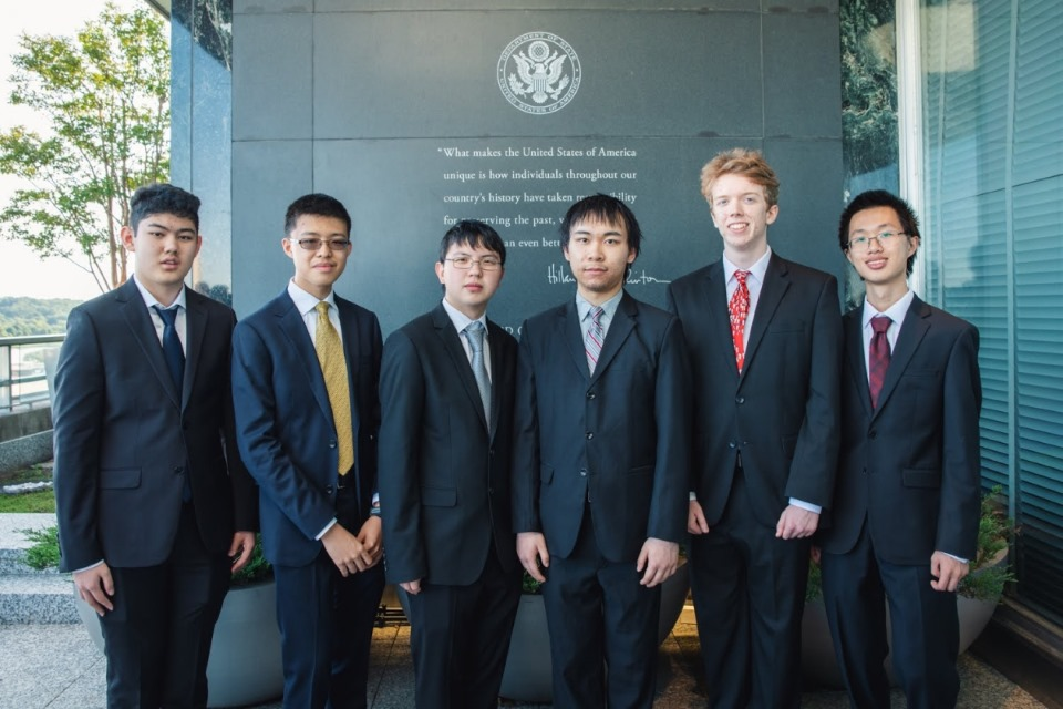 2019 US International Mathematical Olympiad team members from left: Edward Wan, Daniel Zhu, Brandon Wang, Colin Shanmo Tang, Luke Robitaille, Vincent Huang. Photo courtesy Mathematical Association of America