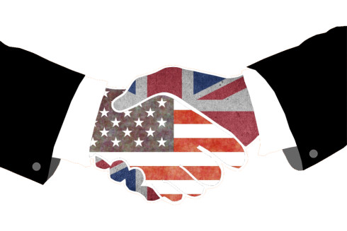 US UK Flag Handshake