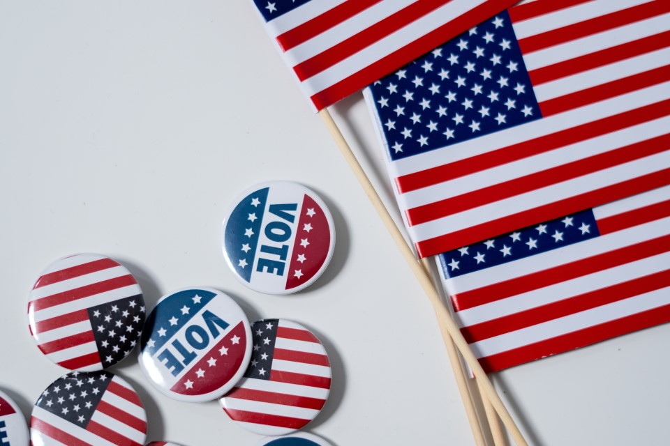 Vote Buttons Flags USA