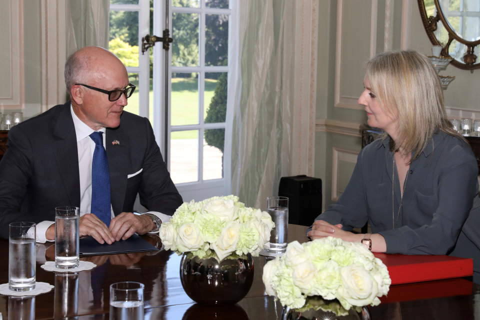 Woody Johnson and Liz Truss