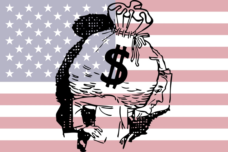 US Flag and Dollars