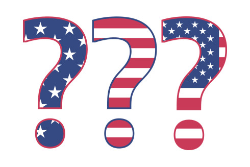 Question Marks US Flag