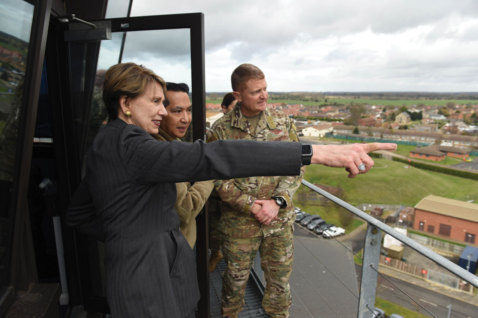 Secretary of the Air Force, Barbara Barrett, visiting Mildenhall