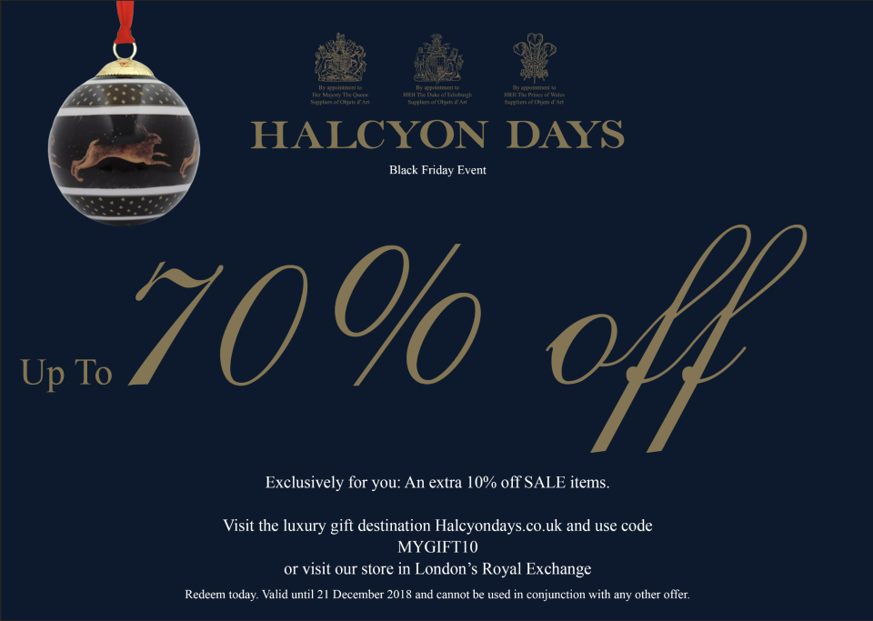 Halcyon Day's Black Friday Offer is Valid to 21st December!