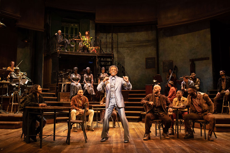 Andre De Shields (Hermes) and Hadestown company