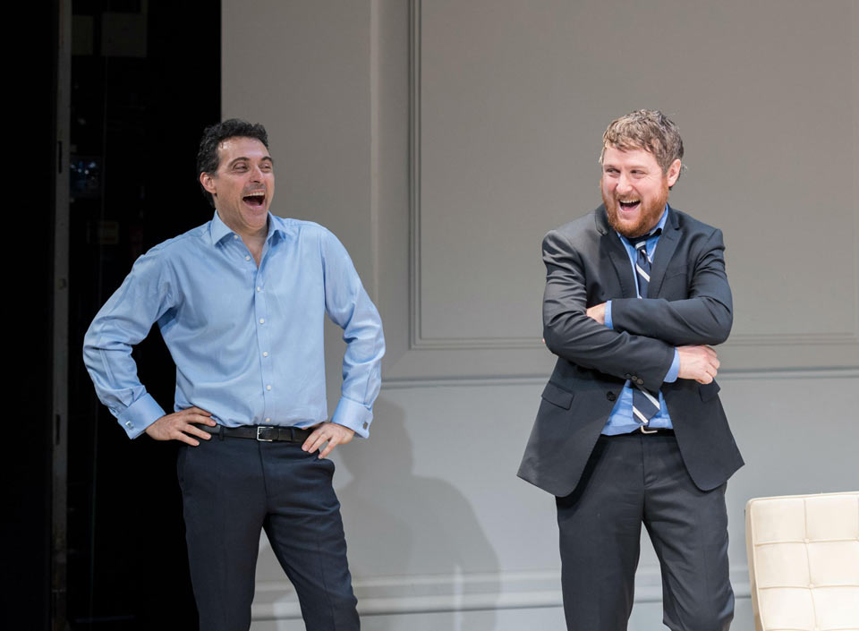 Rufus Sewell as Serge, Tim Key as Yvan  in Art at The Old Vic. Photo: Manuel Harlan