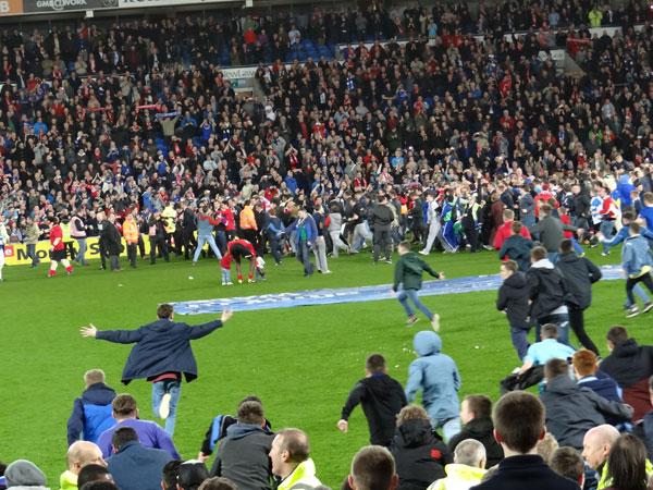 Pitch Invasion Cardiff City v Charlton Athletic